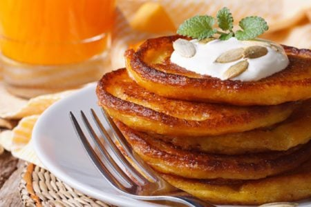 Easy Pumpkin Sour Cream Pancakes