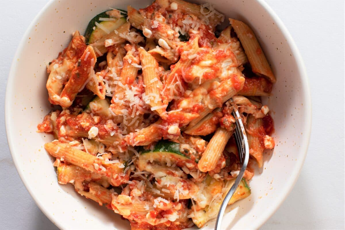 Dig into a deliciously comforting bowl of Slow Cooker Zucchini Ziti.