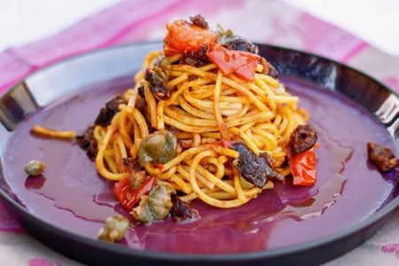 Spaghetti with Tomatoes, Olives & Capers