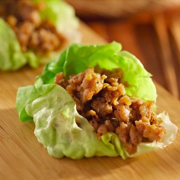 Asian Chicken Wraps in Lettuce Leaves