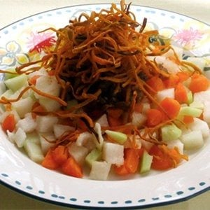 Root Vegetable Salad with Sweet Potato Crunchies