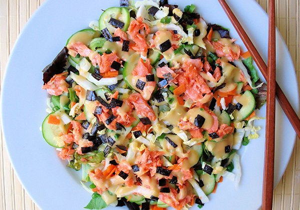 Wild Salmon Vegetable Salad with Lemon Miso Dressing
