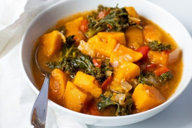 Our slow cooker sweet potato and kale soup is loaded with flavor and nutrients!