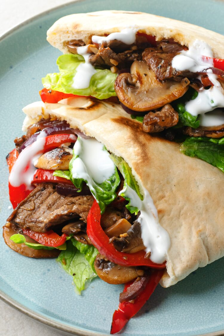 Tender sirloin tip and sauteed mushrooms, onion, and bell peppers combine to creat these tasty fajita pockets!