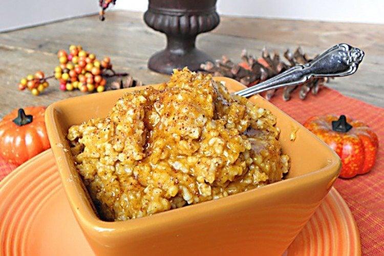 Overnight Slow Cooker Pumpkin Pie Steel Cut Oats- No Sugar Added