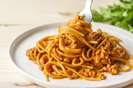Slow Cooker Cheesy Spaghetti with Homemade Turkey Sausage