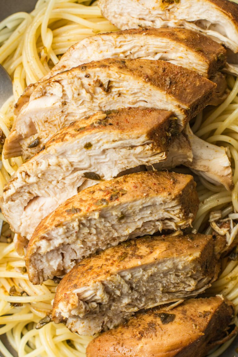 There are a number of different ways to serve this tasty chicken, but it's esepcially good over pasta!