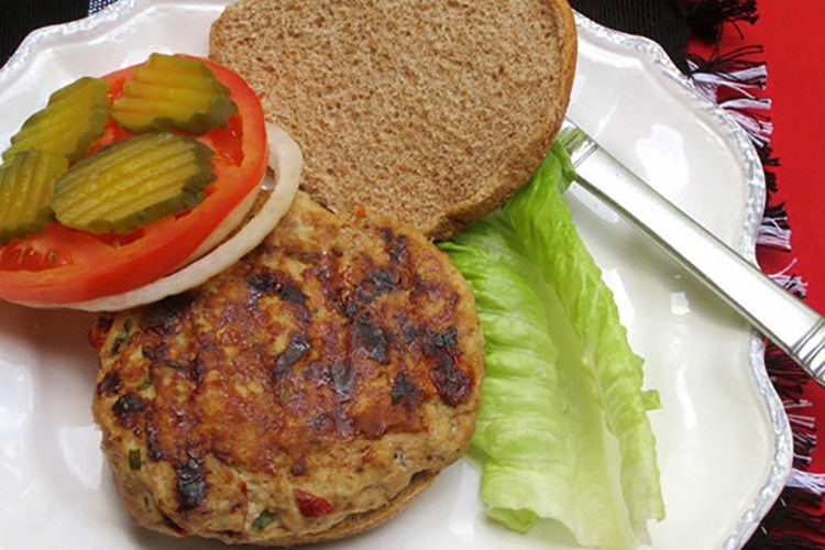 Turkey Burger with Sun-Dried Tomatoes and Feta Cheese
