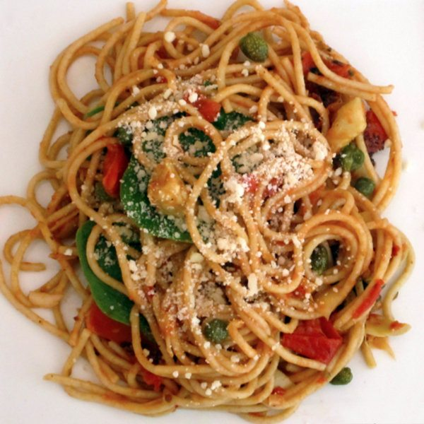 Pasta Puttanesca with Baby Spinach
