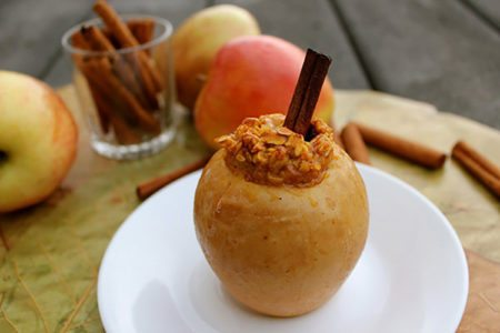 Pumpkin Raisin Oatmeal Baked Apple