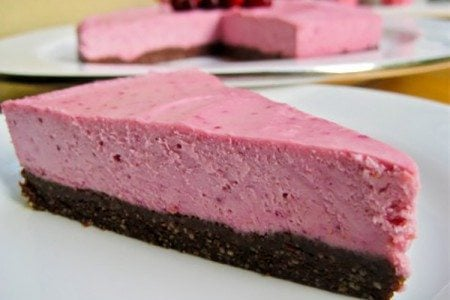 Raw Vegan Lemon Cranberry Cheesecake