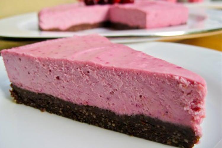 Raw Vegan Lemon Cranberry Cheesecake