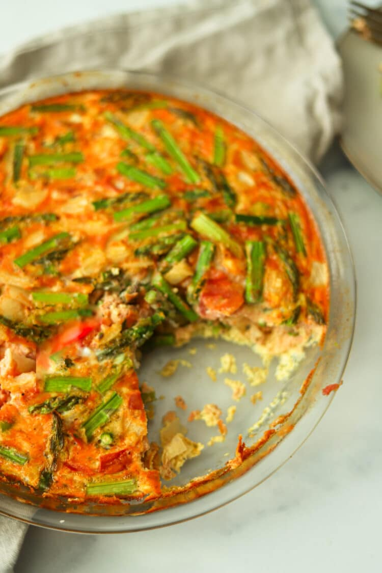 This crustless asparagus quiche is low-carb but high in flavor!