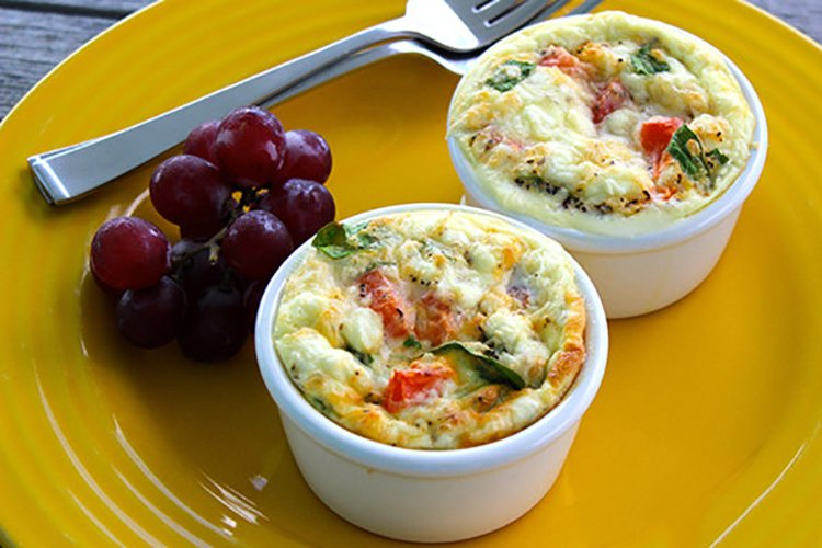 Individual Egg and Spinach Bowls