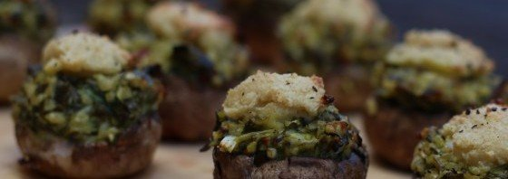 Baked Pesto Mushies with Crunchy Cashew Cheese