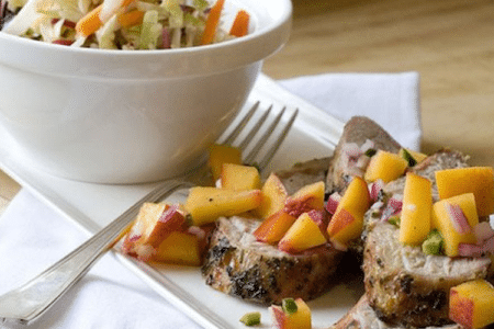 Pork Tenderloin with Peach Salsa and Peppery Slaw