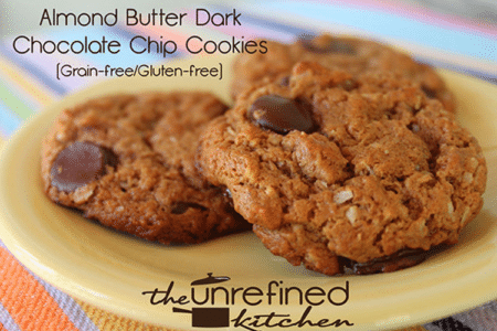 Almond Butter Dark Chocolate Chip Cookies