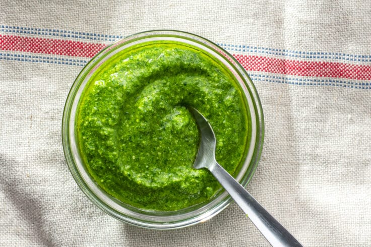 This Basil and Spinach Pesto can be used in a number of delicious ways.