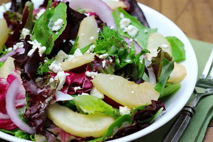 spring mix with roasted pears