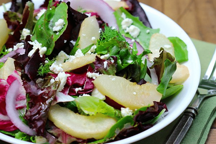 Spring Mix with Roasted Pears and Feta