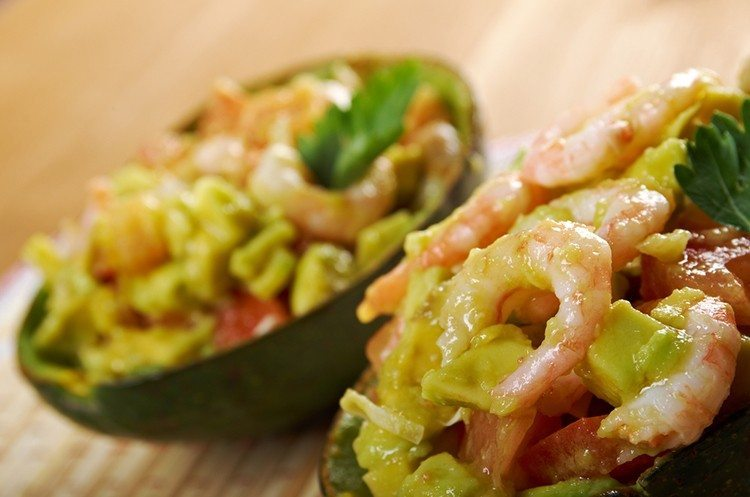 Grilled Shrimp Salad in an Avocado Shell
