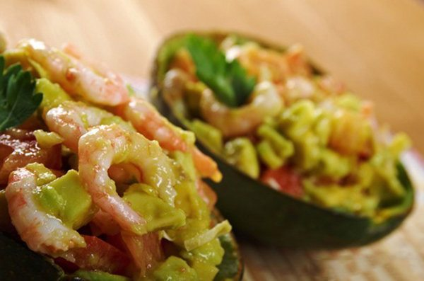 Luscious Grilled Shrimp Salad in an Avocado Shell