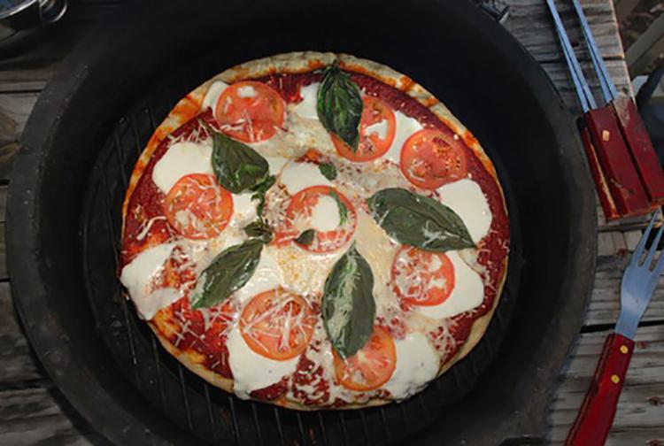 grilled pizza with mozzarella