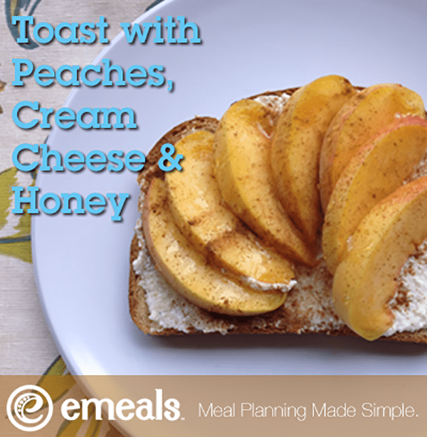 Toast with Peaches, Cream Cheese and Honey