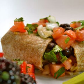 Black Bean Burritos with Fresh Salsa & Berry Salad with Herbs