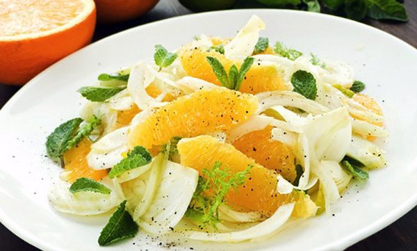Creamy Fennel Salad with Orange Wedges and Fresh Mint