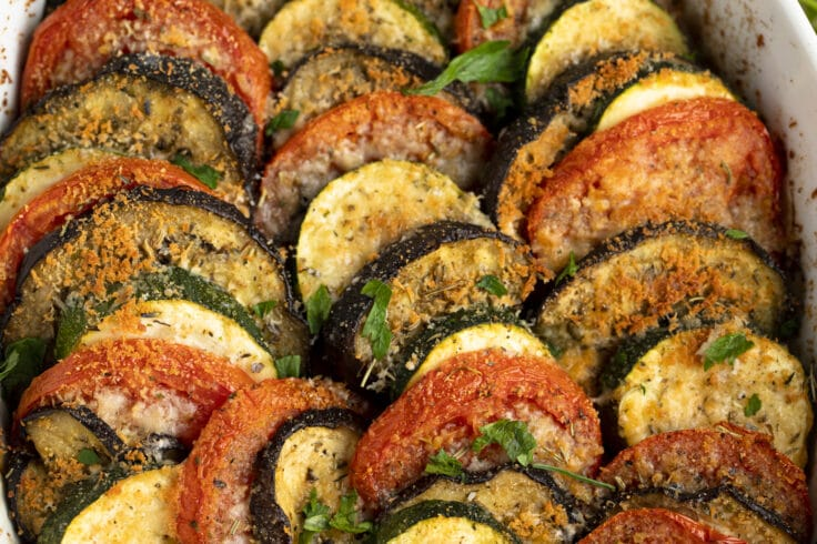 This Eggplant and Zucchini Gratin is a gorgeous dinner party side dish.