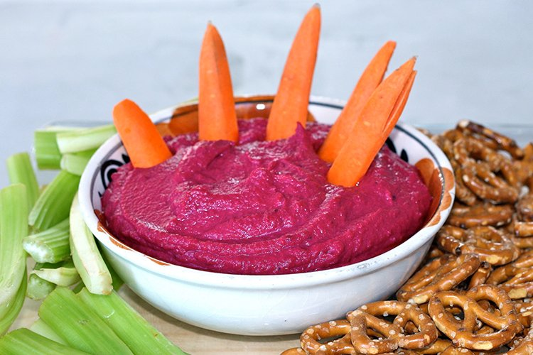 Bloodred Beet Hummus with Carrot Fingers