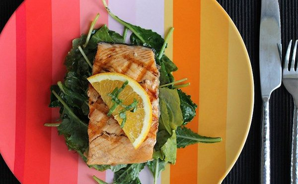 Orange Glazed Salmon With Wilted Kale