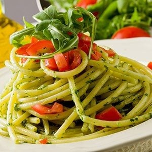 2 Fast Pastas: Almond-Pesto Pasta or Marinara Pasta