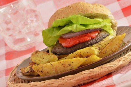 Portobello Burger with Savory Balsamic Marinade