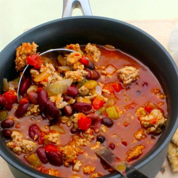 Slow Cooker – Spicy Three Bean Turkey Chili