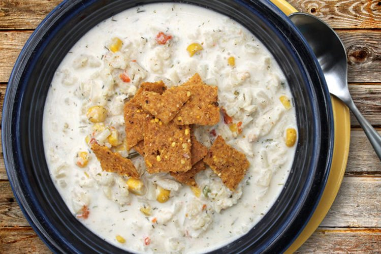 slow cooker corn, crab, and poblano chowder
