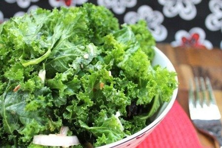Raw Kale Salad with Raspberry Vinaigrette