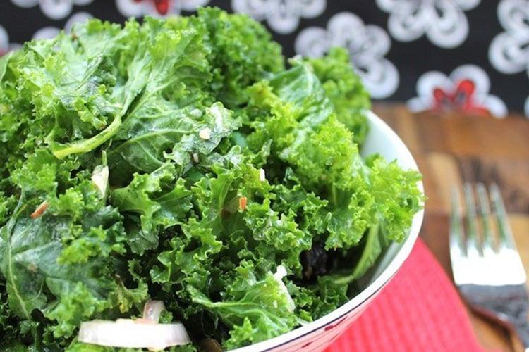 Raw Kale Salad with Raspberry Vinaigrette