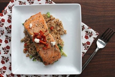 Herbed Salmon with Broccoli Bulgur Pilaf