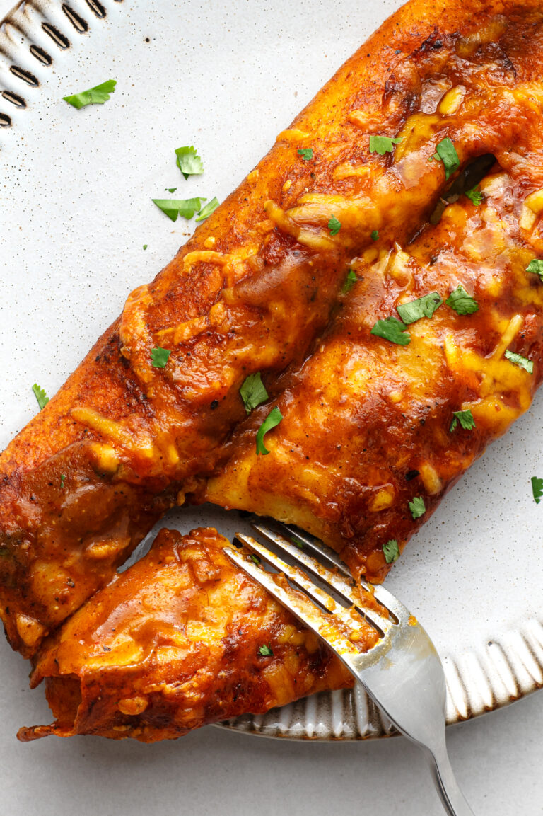 Dive right in to these delicious and vegetarian-friendly enchiladas.
