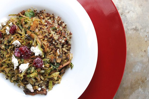 Brussels Sprouts and Mushroom Ragoût with Crispy Quinoa