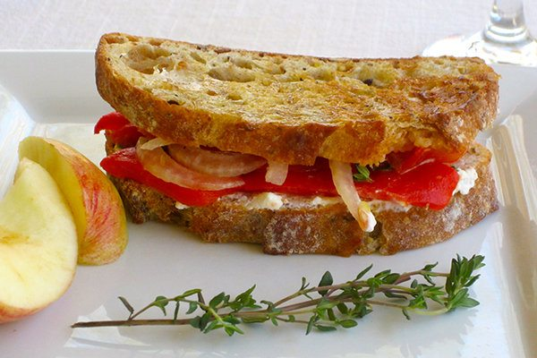 Vegetarian Panini with Roasted Peppers and Goat Cheese