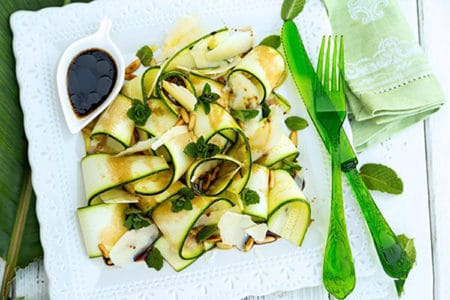 Zucchini Ribbon Salad With Pine Nuts and Parmesan Shavings