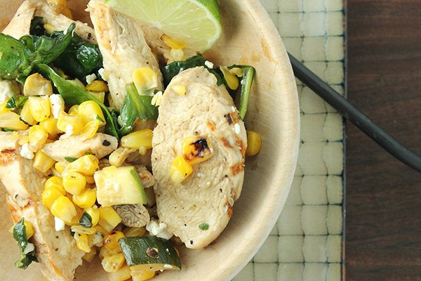 Chicken Spinach and Corn-Sauté