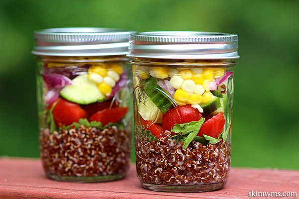 Mediterranean Quinoa Salad with Seasonal Vegetables in a mason jar