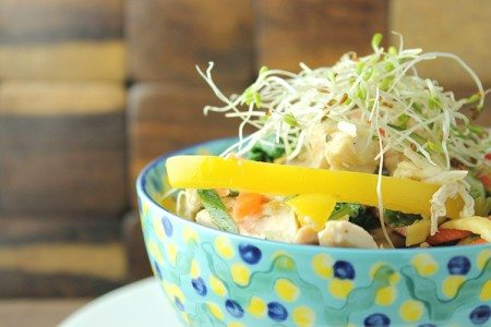 Shredded Chicken Primavera Bowl