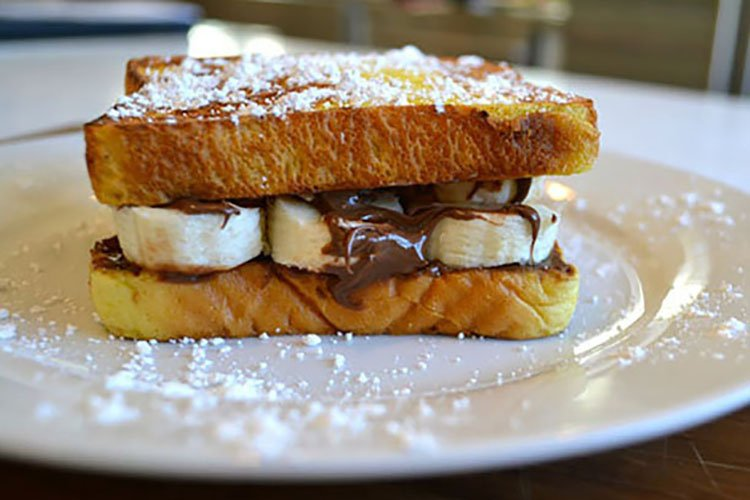 Chocolate-Hazelnut and Banana French Toast Sandwich