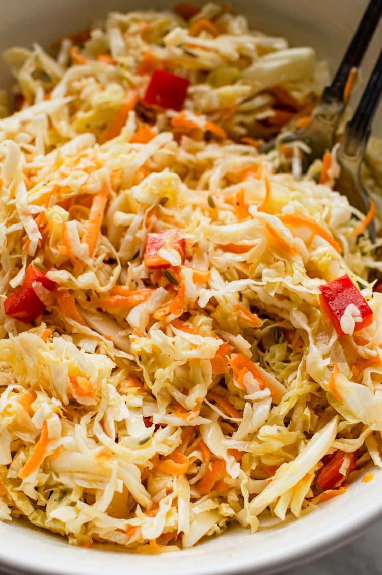 This sweet and tangy coleslaw pairs well with burgers, barbecue, or any other cookout recipes!