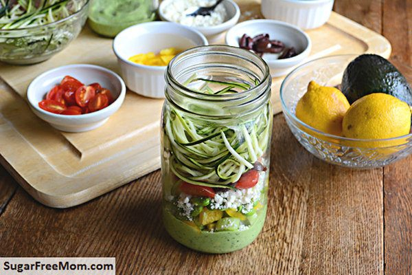 Mason Jar Zucchini Pasta Salad with Avocado Spinach Dressing